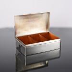 Large handmade antique silver cigar box