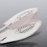 George III fiddle pattern silver fish tongs