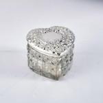 Silver & glass heart-shaped box
