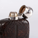 Silver & leather hip flask