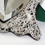 Heart-shaped silver swivel mirror