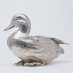 Lifesize cast silver mallard duck