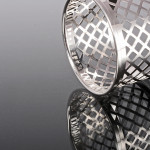 Modern lattice silver napkin ring