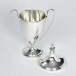 Small neoclassical style silver trophy cup & cover