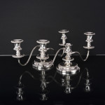 Pair versatile 19th century style silver candelabra
