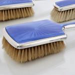 5-piece blue enamel mirror & brush set
