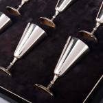 Silver liqueur goblets & tray
