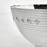 Contemporary style ribbed silver bowl