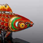 Chinese silver & enamel articulated fish