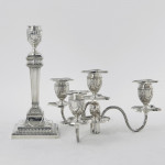 Pair Victorian 4-light neoclassical style silver candelabra