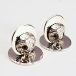 Pair silver owl menu or place card holders