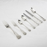 Antique hand-forged King's Husk silver cutlery for 12
