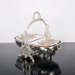 Antique silver-plated folding biscuit box