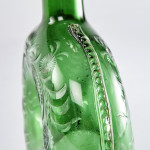 Green glass liqueur decanter with silver collar