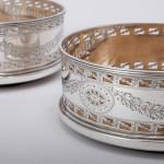 Pair of George III style silver coasters