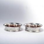 Pair George III silver coasters
