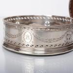 Pair George III neoclassical silver coasters