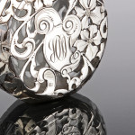 American silver overlay perfume flask