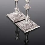 Pair antique silver tapersticks