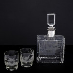 Decanter & tumblers engraved with game birds