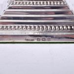 Pair Corinthian column silver candlesticks