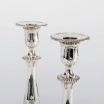 Pair antique George III style silver candlesticks