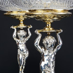 Garniture silver-plated & partly gilded candelabra & comports