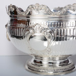 Large Victorian silver Monteith bowl