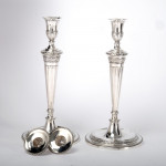 Pair George III silver candlesticks