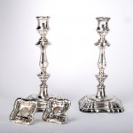 Pair George II style silver candlesticks