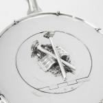 Unusual antique silver-plated kettle drum tea set