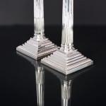 Pair antique silver-plated Corinthian candelabra