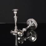 Pair antique silver candlesticks