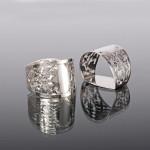 Pair pierced silver napkin rings