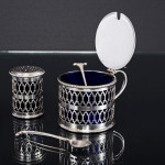 3-piece George III style silver condiment set