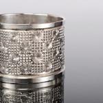 Daisy pattern silver napkin ring