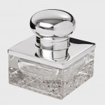 Antique silver & glass inkwell
