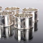 Set six silver-plated napkin rings