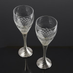 Pair silver & crystal wine goblets