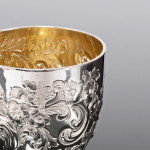 Victorian hand-chased silver water or wine goblet