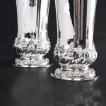 Pair antique silver vases
