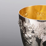 Victorian silver goblet with swallow engraving