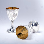 Pair George III neoclassical silver goblets