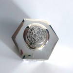 Rare antique hexagonal silver tea caddy