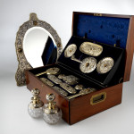 Victorian silver gilt & tiger's eye vanity set