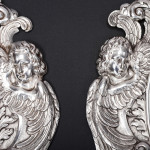 Pair antique silver-plated wall sconces