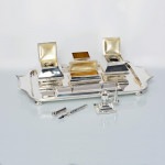 Large director's silver inkstand