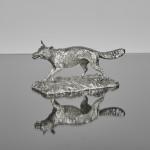 Rare Victorian silver fox table lighter