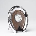 Antique silver horseshoe clock
