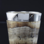 Victorian horn beaker with silver rim